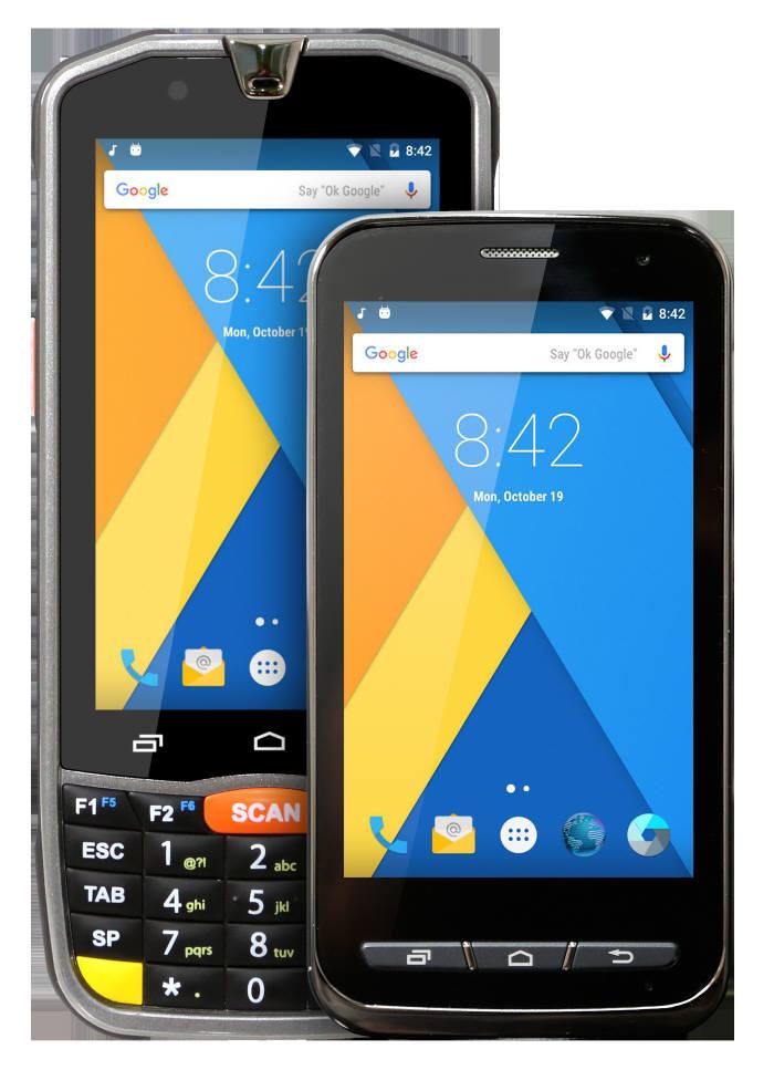 포인트모바일이 새로 출시한 산업용 PDA PM66(왼쪽)과 PM70.