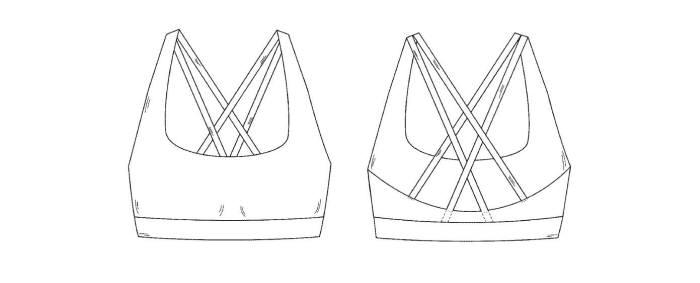 룰루레몬이 등록한 브래지어 디자인 특허(D759942) 도면 / 자료: 미국특허청(USPTO)