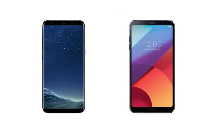 베젤리스 디자인을 적용한 갤럭시S8(왼쪽)과 LG G6.
