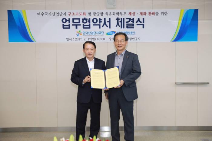 황규연 한국산업단지공단 이사장(오른쪽)이 17일 방희석 여수광양항만공사 사장과 상생협력을 위한 업무협약을 체결하고 있다.