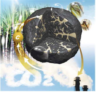 저등급 석탄 고품위화를 위해 바이오매스를 입힌 하이브리드 석탄의 개념도