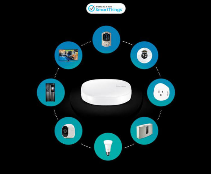 삼성 '커넥트 홈'은 삼성전자 IoT 플랫폼 '스마트싱스' 허브 역할도 맡는다. 스마트TV, 가전, 조명 등을 제어 가능하다./사진=삼성전자 공식 홈페이지