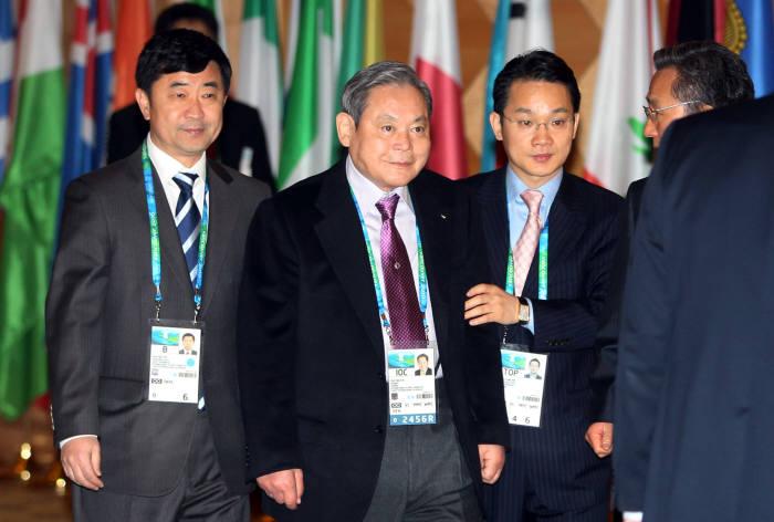 이건희 삼성그룹 회장이 국제올림픽위원회(IOC) 위원 재임 당시 2010년 밴쿠버에서 열린 IOC 총회에 참석한 모습.