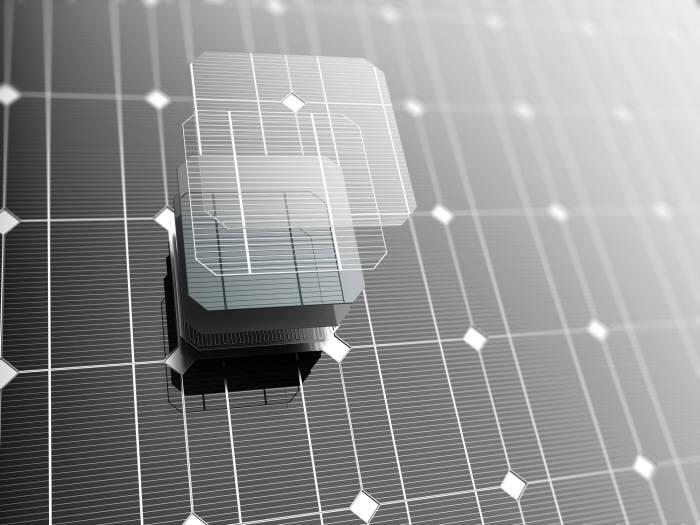 태양전지 셀 하나를 확대한 모습 출처 : gettyimagesbank