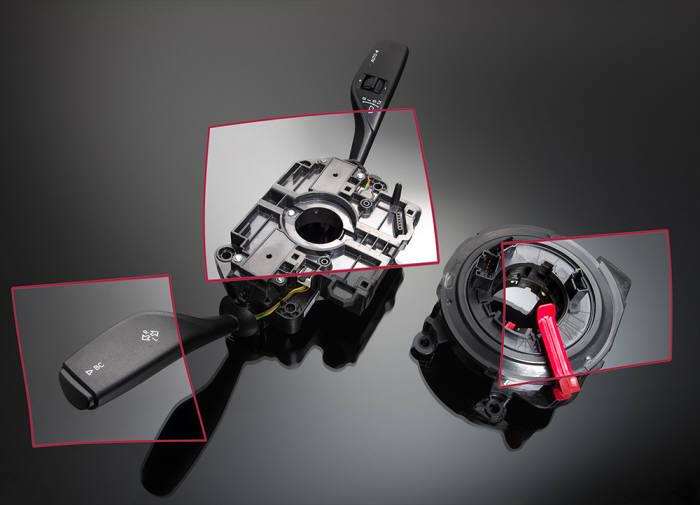 바스프의 자동차 경량화 소재인 울트라미드와 울트라듀어가 적용된 스티어링 톱 컬럼 모듈(자료 : 바스프)