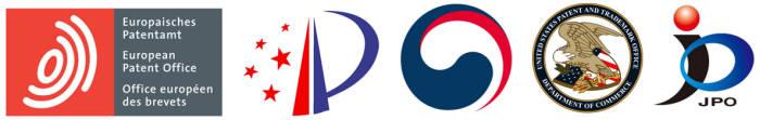 주요 5개국 특허청 로고(왼쪽부터 유럽, 중국, 한국, 미국, 일본)