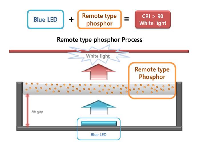 Remote phosphor 타입의 모식도