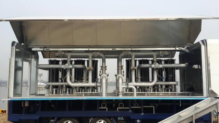 한강공원 양화물놀이장에 설치된 케이원에코텍의 여과기. [자료:케이원에코텍]