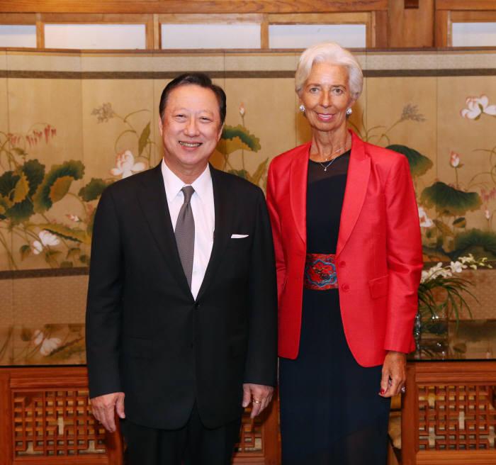 박용만 상의 회장, IMF총재와 세계 경제전망 논의