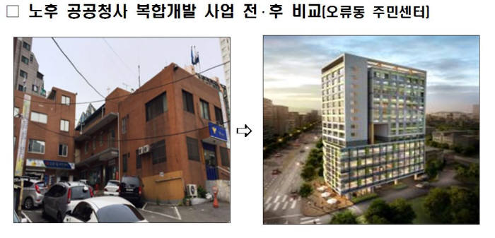 노후 공공청사 복합 개발 사례. 제공=국토교통부