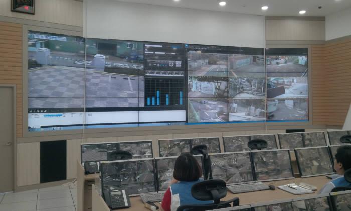 리얼허브 VMS를 기반으로 운영 중인 지자체 CCTV통합관제센터.