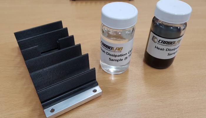 카보랩이 개발한 방열탄소코팅액 '카보쿨'(오른쪽 용기). 왼쪽은 방열탄소코팅액을 바른 LED 조명 방열판.