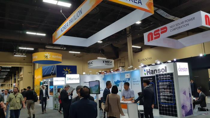한국에너지공단이 국내 중소중견기업과 함께 미국 태양광전시회 SPI 현장에 꾸린 한국 전시관. [자료:한국에너지공단]