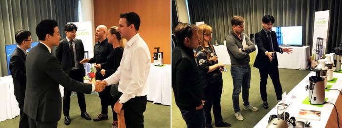 휴롬은 지난 4일부터 5일까지 이틀간 독일 베를린 '스위소텔 베를린' 호텔에서 유럽 시장 바이어 대상 전시 행사를 진행했다.
