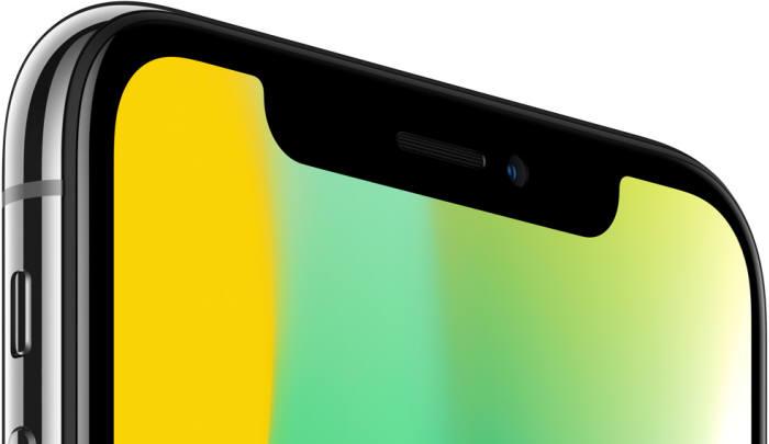 카메라 부위를 감싼 모양이 독특한 아이폰X의 OLED 디스플레이(출처: 애플 홈페이지)
