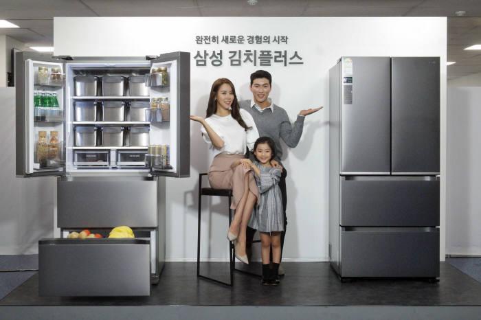 삼성전자는 13일 서울 중구 삼성전자 태평로 빌딩에서 새로운 프리미엄 김치냉장고 '김치플러스' 발표회를 진행했다.