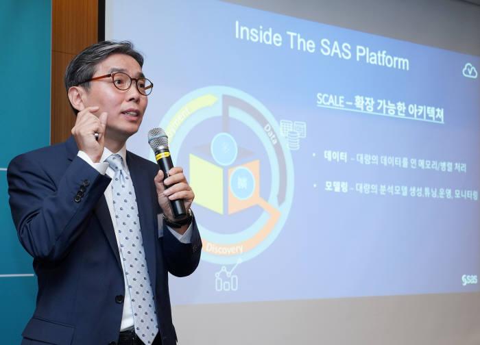 이진권 SAS코리아 전무가 'SAS 플랫폼(The SAS Platform)' 전략을 발표하고 있다. SAS코리아 제공