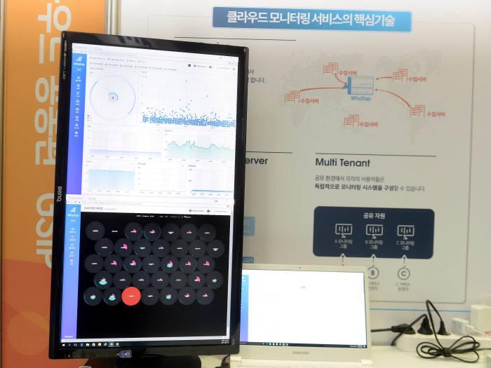 와탭랩스가 클라우드 모니터링 서비스를 구현한 대시보드 모니터를 전시하고 있다.