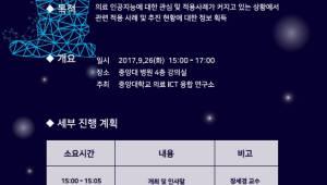 {htmlspecialchars(중앙대 의료ICT융합연구소, 26일 의료 AI 세미나 개최)}