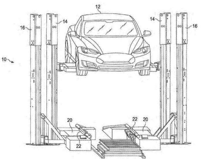 테슬라가 5월 미국 특허상표청에 특허로 출원(신청)한 배터리 교체 시스템 및 기술(US20170259675) 도면/ 자료: 미국 특허상표청