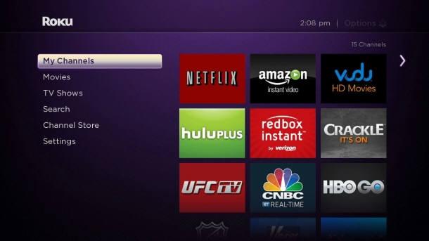 로쿠 스트리밍 스틱으로 구현한 TV 앱 화면<자료:로쿠>