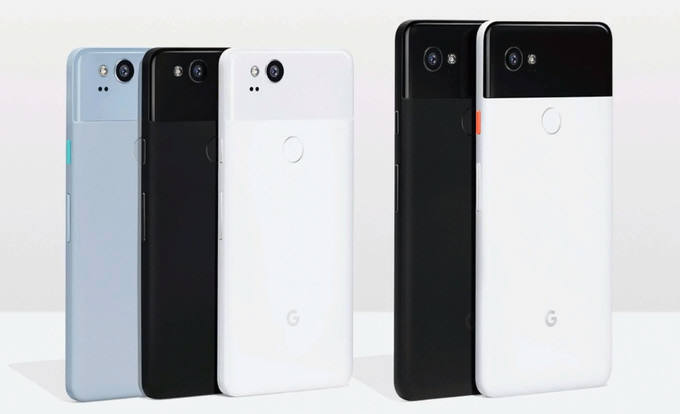 픽셀2(왼쪽)와 픽셀2XL 스마트폰.