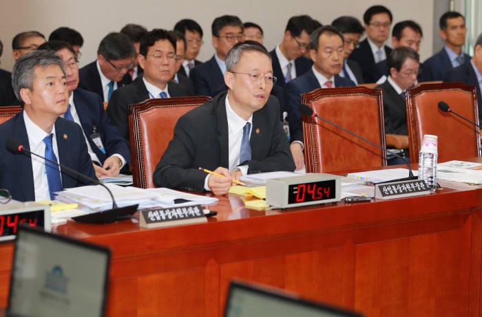 백운규 산업통상자원부 장관이 12일 에너지분야 국정감사에 출석해 의원들의 질의에 답하고 있다.