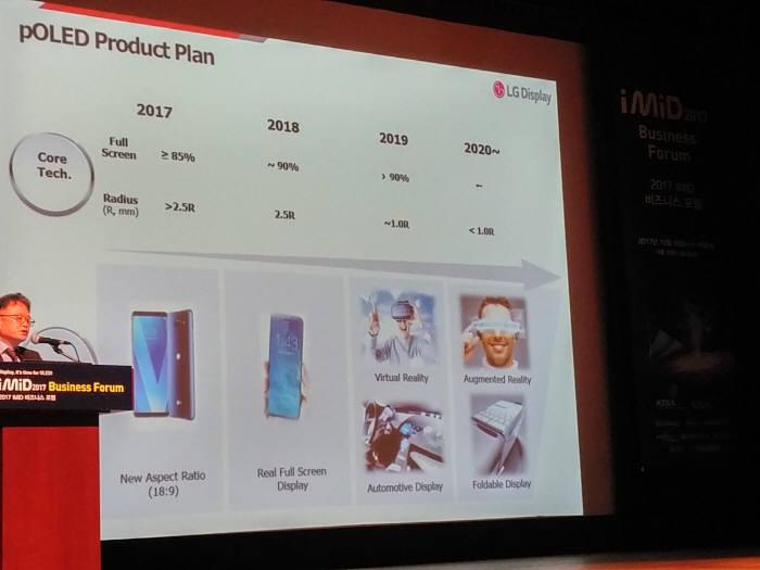 LG디스플레이는 18일 서울 코엑스에서 열린 IMID 2017 비즈니스포럼 기조강연에서 폴더블 디스플레이 개발 상황을 공개했다. 이정한 CMO 산하 상무가 발표하고 있다. (사진=전자신문DB)