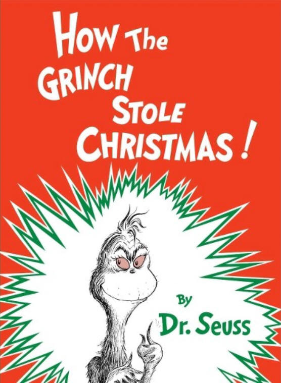 테오도르 수스 가이젤(닥터 수스)이 1957년 펴낸 원저작물 동화 '그린치는 어떻게 크리스마스를 훔쳤는가!(How the Grinch Stole Christmas!)' 표지.
