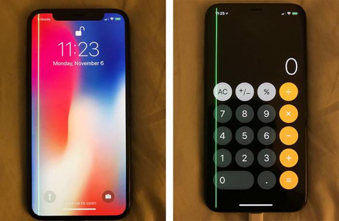 애플 아이폰X 화면 가장자리에 '녹색 세로줄'이 생겨 사라지지 않는 현상이 발생했다. / 사진=맥루머스