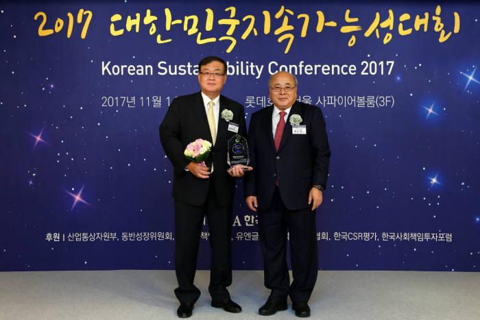 왕태욱 신한은행 부행장(왼쪽)과 백수현 한국표준협회장.