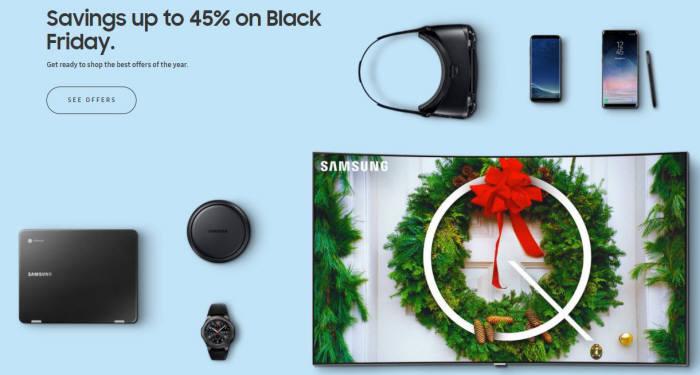 삼성전자가 QLED TV와 갤럭시노트8과 액세서리, 기어VR, 노트북을 할인가에 판매하는 블랙프라이데이 프로모션을 시작했다./사진=삼성전자 미국법인 홈페이지