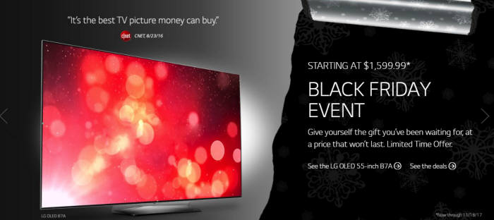 LG전자 블랙프라이데이 프로모션 이미지/사진=LG전자 미국법인 홈페이지