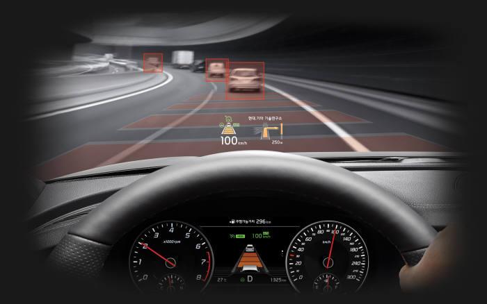 기아자동차 고성능 '4도어 쿠페' 스팅어에 적용된 반자율주행 시스템 '드라이브 와이즈(Drive Wise)' (제공=기아자동차)