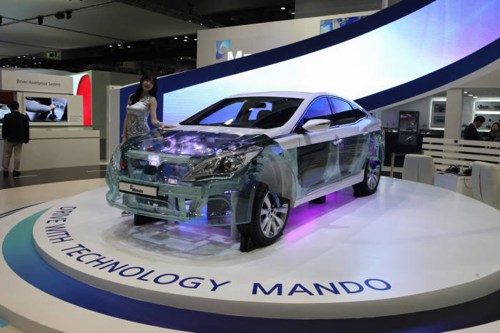 만도 부품을 적용한 모듈형 자동차.