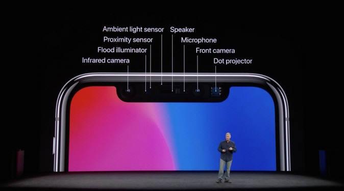 필 쉴러 애플 부사장이 아이폰X에 탑재된 도트 시스템에 대해 설명하고 있다.