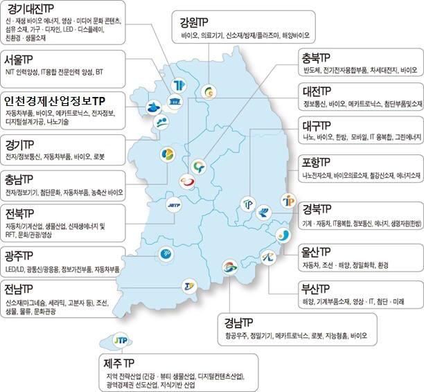 전국 18개 테크노파크 현황 지도