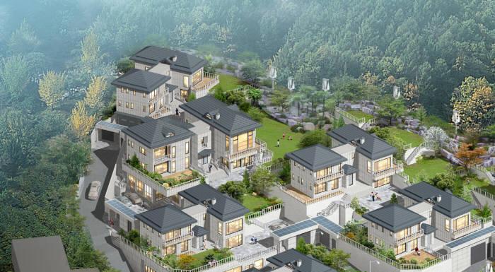 부산로봇산업협회가 로봇업계 협업 비즈니스로 추진하는 'AI 미래주택' 건축 조감도.