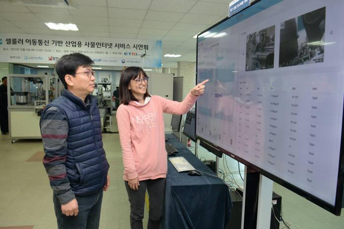 한국전자통신연구원(ETRI)이 이동통신기술을 활용해 무선 생산자동화 시스템을 구현하는 기술 개발에 성공했다. 사진은 ETRI 연구진이 이 시스템을 통해 수집한 공장 운영 현황 데이터를 살펴보는 모습.