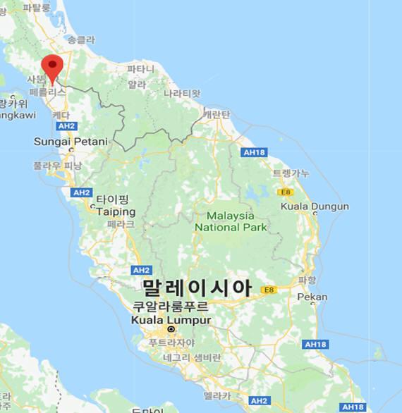 한화에너지가 태양광발전 사업을 수주한 말레이시아 북서부 페를리스주 위치도. [자료:한화에너지]