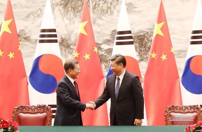 문재인 대통령과 시진핑 중국 주석의 정상 회담 모습
