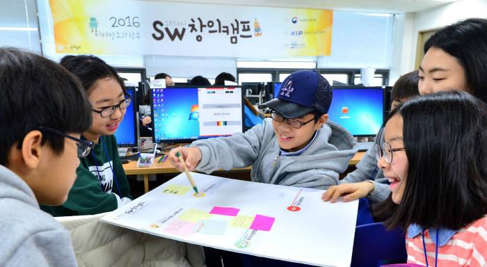 지난해 열린 'SW 창의 캠프'에 참여한 학생들이 아이디어를 이야기하고 있다. 전자신문 DB