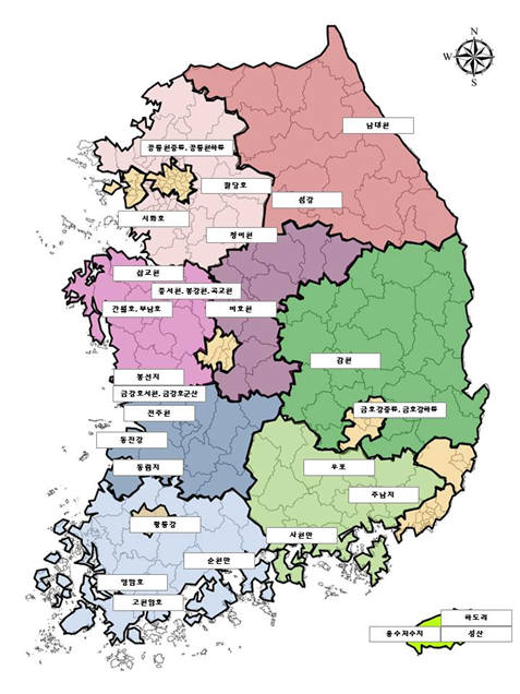 주요 철새도래지 현황. [자료:환경부]