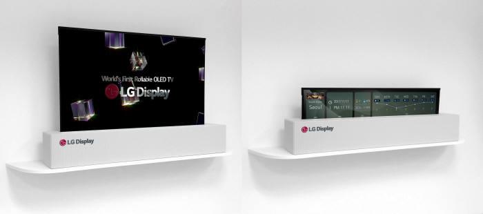 LG디스플레이가 CES 2018에서 최초 공개하는 65인치 UHD 롤러블 디스플레이. 보지 않을 때는 화면을 돌돌 말아 숨김으로써 공간 활용 가치를 높일 수 있다. 사용 목적에 따라 최적화된 화면 크기와 비율로 조정할 수 있다. (사진=LG디스플레이)