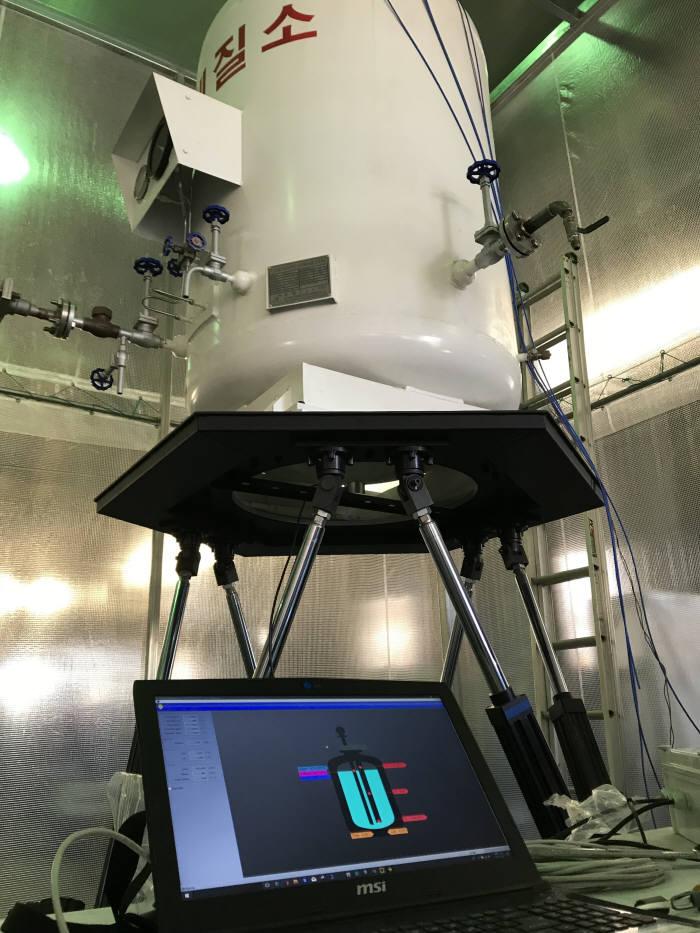 토탈소프트뱅크가 국산화한 CTMS와 이를 이용한 액체 화물 모니터링 시연 장면.