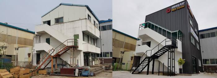 달성산업단지에 위치한 기업 연구소가 지역산업맞춤형 일자리창출지원사업의 지원을 통해 근무환경이 개선된 모습(오른쪽)