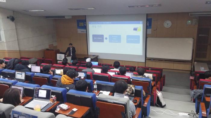 한국교통안전공단의 자율주행차 기술교육 모습