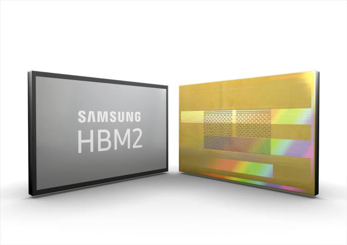 삼성전자가 세계 최대 전송량의 2세대 8GB HBM2(고대역폭 메모리, High Bandwidth Memory) D램 '아쿠아볼트(Aquabolt)'를 양산한다. (사진=삼성전자)