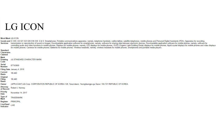 미국 정보기술(IT) 전문매체 폰아레나는 LG전자가 미국특허청(USPTO)에 'LG 아이콘(LG ICON)' 상표를 정식 등록했다고 보도했다.