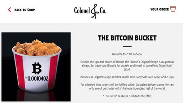 KFC, 비트코인 받는다…캐나다서 '비트코인 버킷' 출시